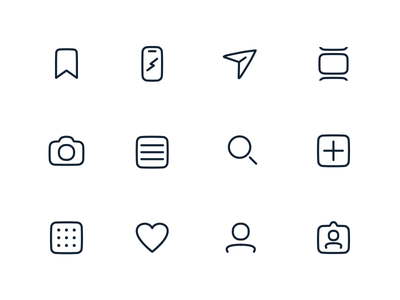 Instagram Icons vector paths illustrator illustration interface ui product product icons instagram icon pictogram icons