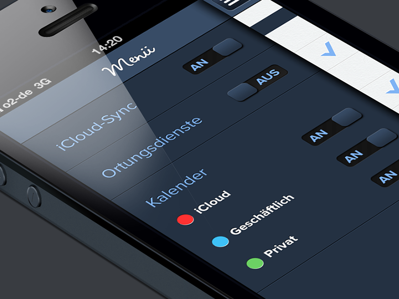 Calenday Menu app mockup iphone ios blue green red toggles switch menu swipe productivity appstore black iphone