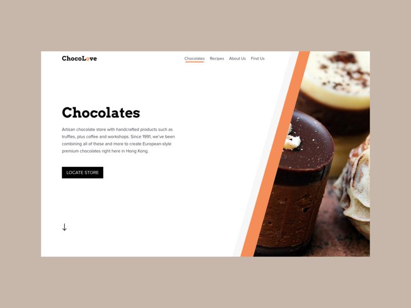 Chocolate web design concept design web ui concept uxui design web design user interface minimal