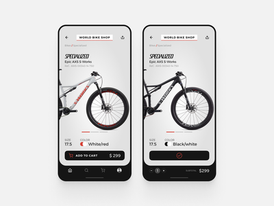 Challenge  #012 ecommerce app bike dailyui12 dailyui