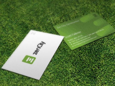 Zen City logo business card green zen zencity