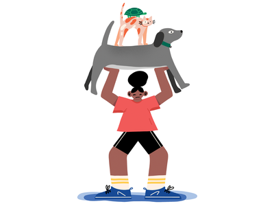 Home Workout magazine illustration people figures pets quarantine procreate print magazine editorial illustration
