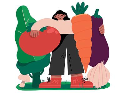 Veggie Gang procreate health food editorial magazine illustration illustration