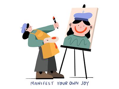 Manifest Joy joy handlettering digital illustration self care procreate illustration