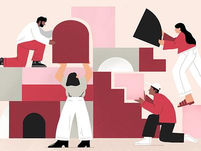 Community Apps design digital branding procreate coding scipting apps build blog editorial illustration