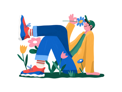 Springtime! flowers illustration flowers digital editorial character design procreate illustration