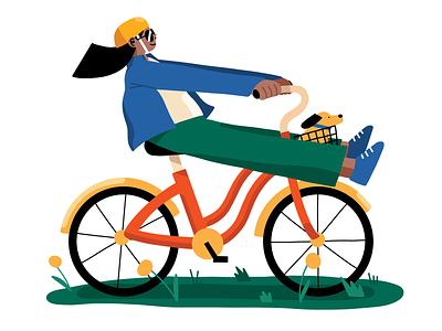 Bike Ride procreate digital editorial bike ride woman illustration character cyclist cycling illustration