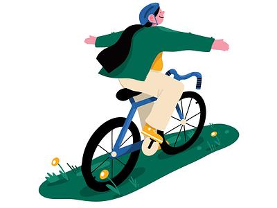 Cycling woman spot editorial digital procreate illustration cyclist cycling bike