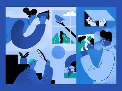 Views Illustration header airtable blog illustration