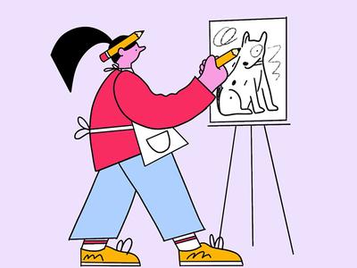 Dog Artist icon creative artist portrait character design illustration dog