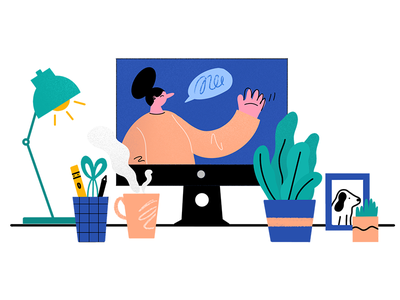 Webinar Welcome! desk imac dog woman icon webinar design illustration