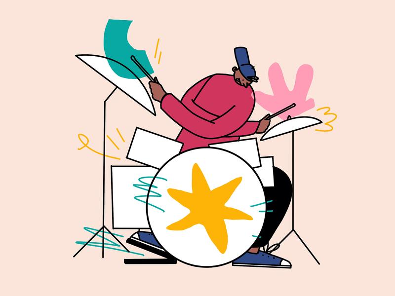 Drummer hand drawn procreate design character design illustration