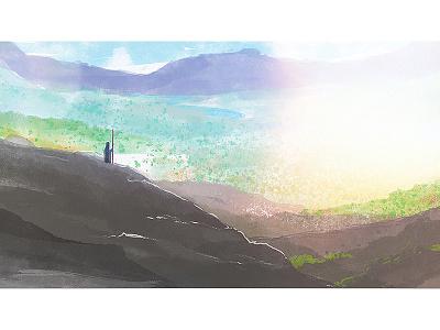 Deuteronomy promised land moses bible digital watercolor painting