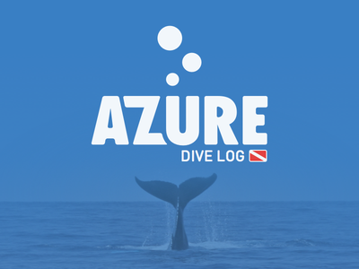 azüre dive log logo branding scuba mobile fitness tracking flat typography logotype