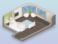 Hotel Room room vector isometric illustration