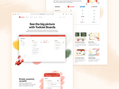 Todoist Boards Landing Page web design marketing project real live app kanban boards todoist task management todo productivity