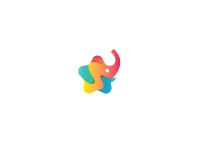 STARS WORLD children child smart identity brand minimal elephant colorful branding logos animal logo