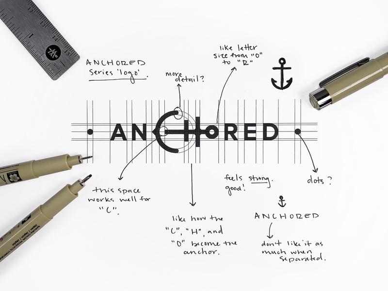 Anchored Logo sketch anchored anchor illustration icon vector logo design branding