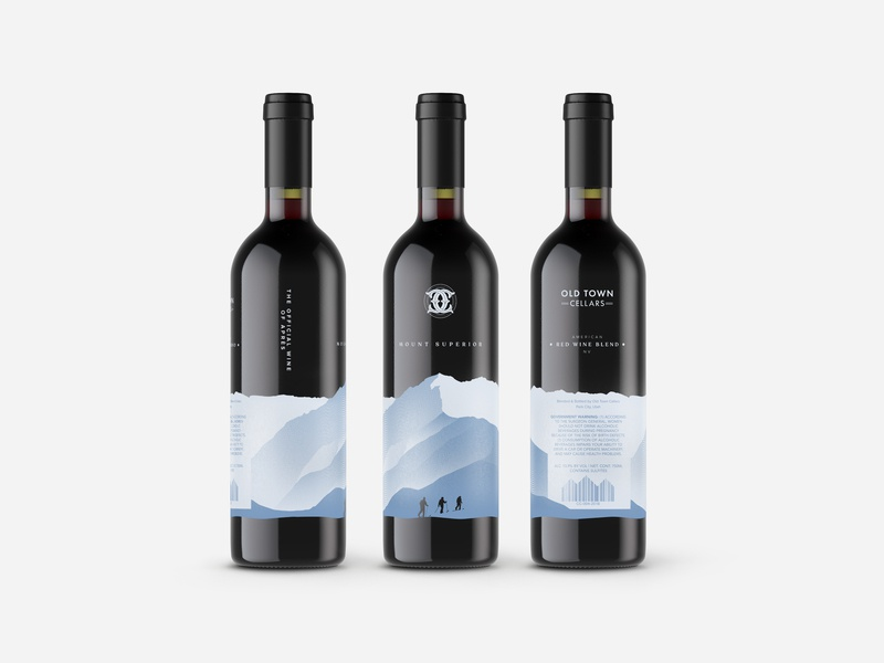 Screen Printed Wine Bottles illustration screen print label mockup label design wine label wine bottles mountains vector design branding