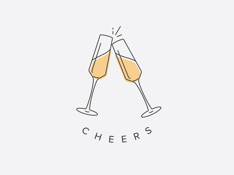 Cheers! champagne illustration type icon vector logo design