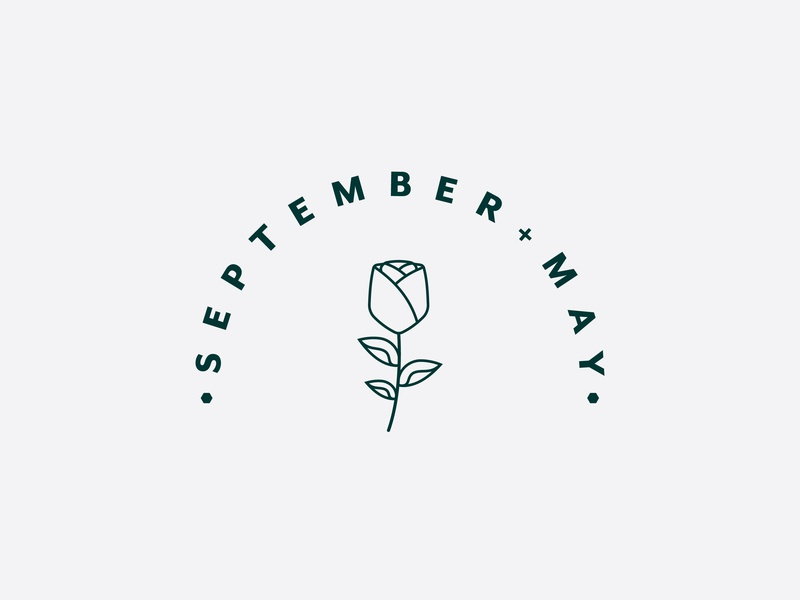 September May Logo modern simple typography flower illustration rose type icon vector logo branding design
