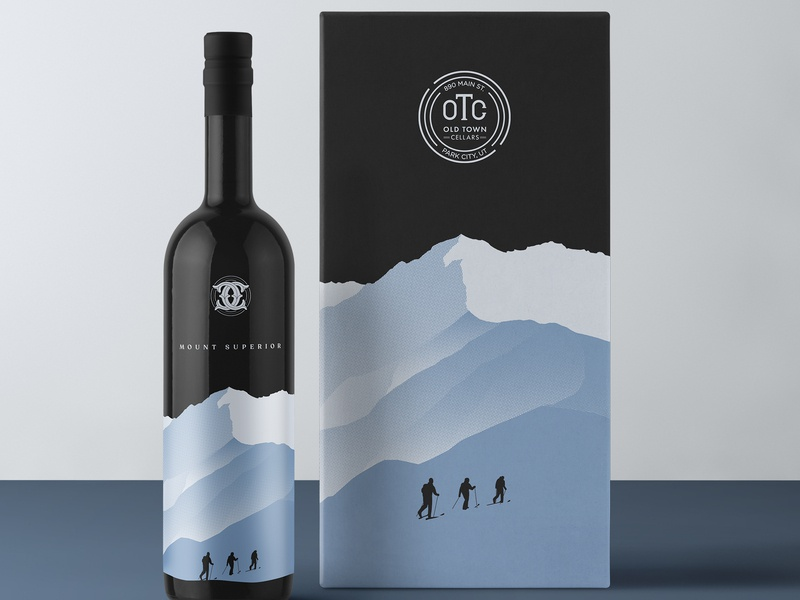 Skier Wine Bottle wine branding wine bottle logo vector branding design bottle wine