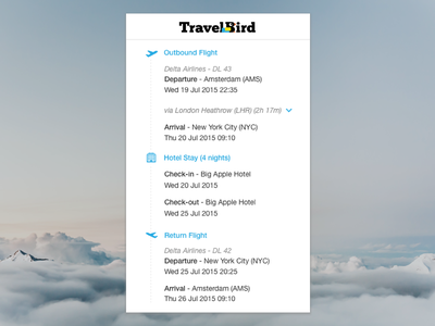 TravelBird - Your Itinerary timeline user experience interface ui ux mobile web itinerary icon card travel travelbird