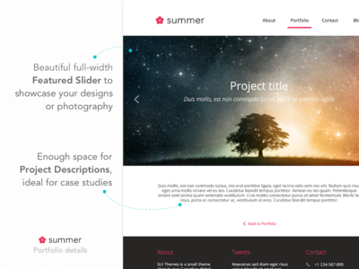 Summer HTML Theme - CreativeMarket preview html theme minimal mobile web responsive design ui portfolio clean user experience ux