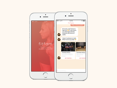 Fitfam Chatbot App—Weight Training for Women user experience product design training ai health interface ux ui mobile ios chatbot fitness