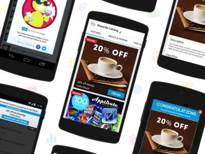 Gimmie makes loyalty fun—Android Mobile Design android user experience saas ux ui reward mobile loyalty flow design clean app