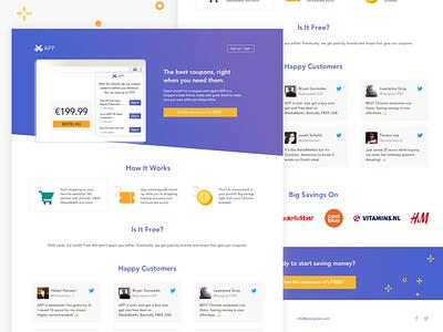 Coupon Chrome Extension Landing Page blurple marketing user experience landing page gradient material website ux ui minimal clean responsive