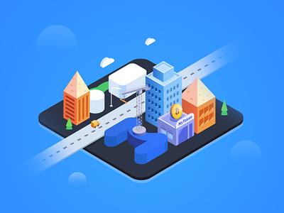 City-MT car buiding bitcoin city illustration