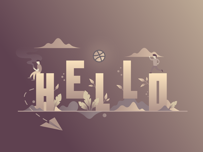 Hello Dribbble ! coffee ball first dribbble character plane flat illustration debut