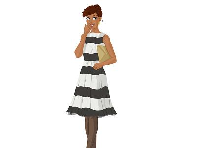 Lady In Stripes womenswear woman style night out illustration dress stripes lady