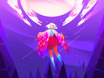 Afloat stars character design character nature photoshop digital painting rabbit bunny planet jupiter forest illustration
