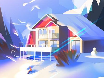 Winter nature woods forest digital painting photoshop winter snow environment cabin illustration