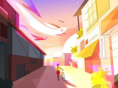 The Walk Home sunset neighborhood buildings landscape city visual development background environment painting digital painting photoshop illustration
