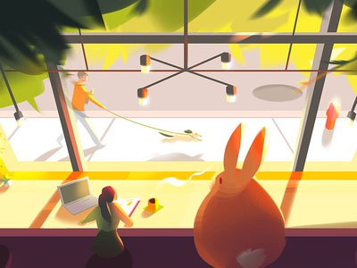 Cafe visual development bunny cafe digital painting photoshop environment illustration