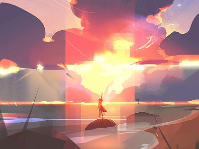 Sunset character clouds sunset visual development concept art environment photoshop digital illustration