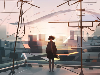 Rooftop visual development urban city character digital japan rooftop dragon photoshop illustration
