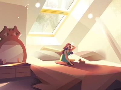Morning visual development interior room character morning photoshop illustration
