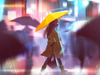 Rain umbrella character visual development environment concept art mood landscape city urban rain photoshop illustration
