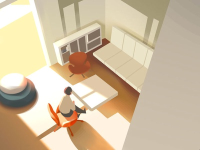 Afternoon environment interior furniture character photoshop illustration