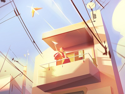 Paper Airplane airplane character japan balcony visual development concept art environment photoshop digital illustration