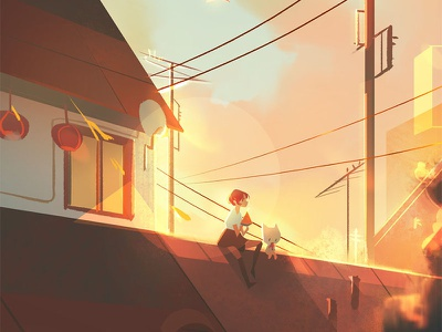 Watermelon On the Rooftop environment watermelon sunset character photoshop illustration