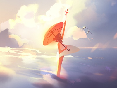 The Sea birds clouds environment sea ocean character photoshop illustration