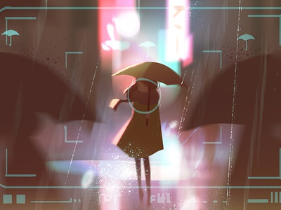 The Future of AI with Adobe umbrella rain character artificial intelligence photography environment illustration adobe