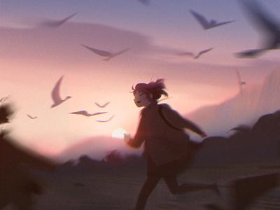 Running character sunset environment