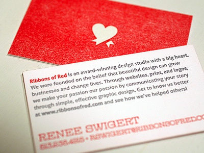 ROR Letterpress Business Cards letterpress bussiness card red heart