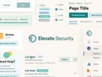 Elevate Security - Design system ui rebrand product design components design system
